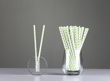 Sale Disposable Paper Straws with green Dot