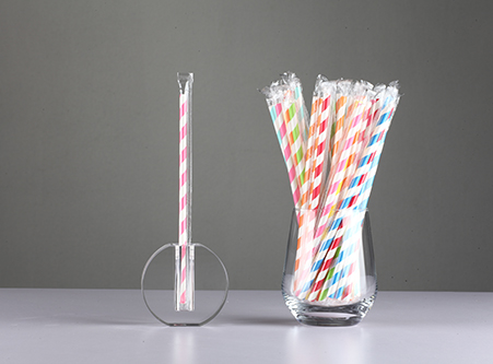 China Stripe Paper Straws with Individual Wrapped
