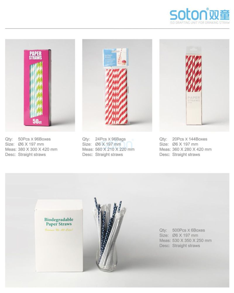 Eco Disposable Stripe Individually Wrapped Paper Straws