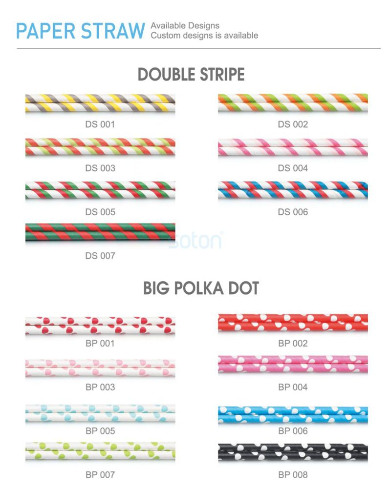 Single Paper Package Stripe Paper Straws Wholesale