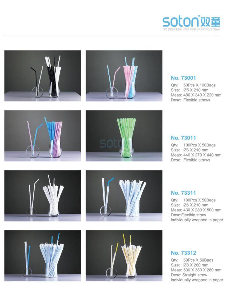 Individually Wrapped PLA Straws Blue Bent Straws China